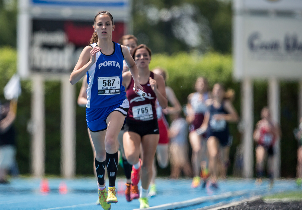 PORTA's Katherine Pickerill runs the second leg of the Class 1A 4x800m Relay during the IHSA Girls Track and Field State Finals at O'Brien Stadium, Saturday, May 23, 2015, in Charleston, Ill. PORTA finished 3rd with a time of 9:43.21. Justin L. Fowler/The State Journal-Register