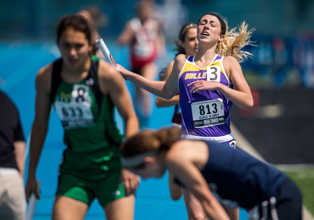 Williamsville's Abbey Galusha crosses the finish line to help the Bullets to finish 8th with a time of 9:56.55 in the Class 1A 4x800m Relay during the IHSA Girls Track and Field State Finals at O'Brien Stadium, Saturday, May 23, 2015, in Charleston, Ill. Justin L. Fowler/The State Journal-Register