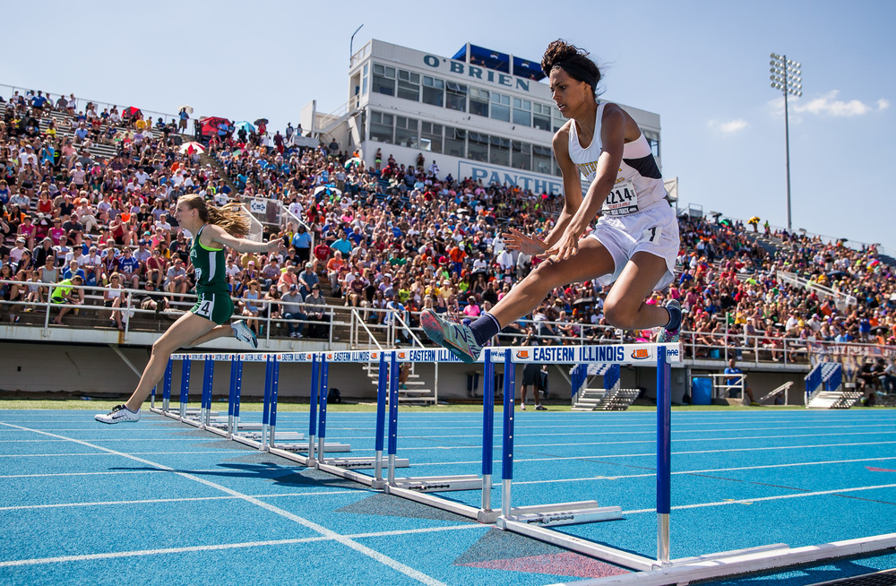 Southeast's Lunden Henry finished 8th in the Class 2A 300m Hurdles with a time of 47.40 during the IHSA Girls Track and Field State Finals at O'Brien Stadium, Saturday, May 23, 2015, in Charleston, Ill. Justin L. Fowler/The State Journal-Register