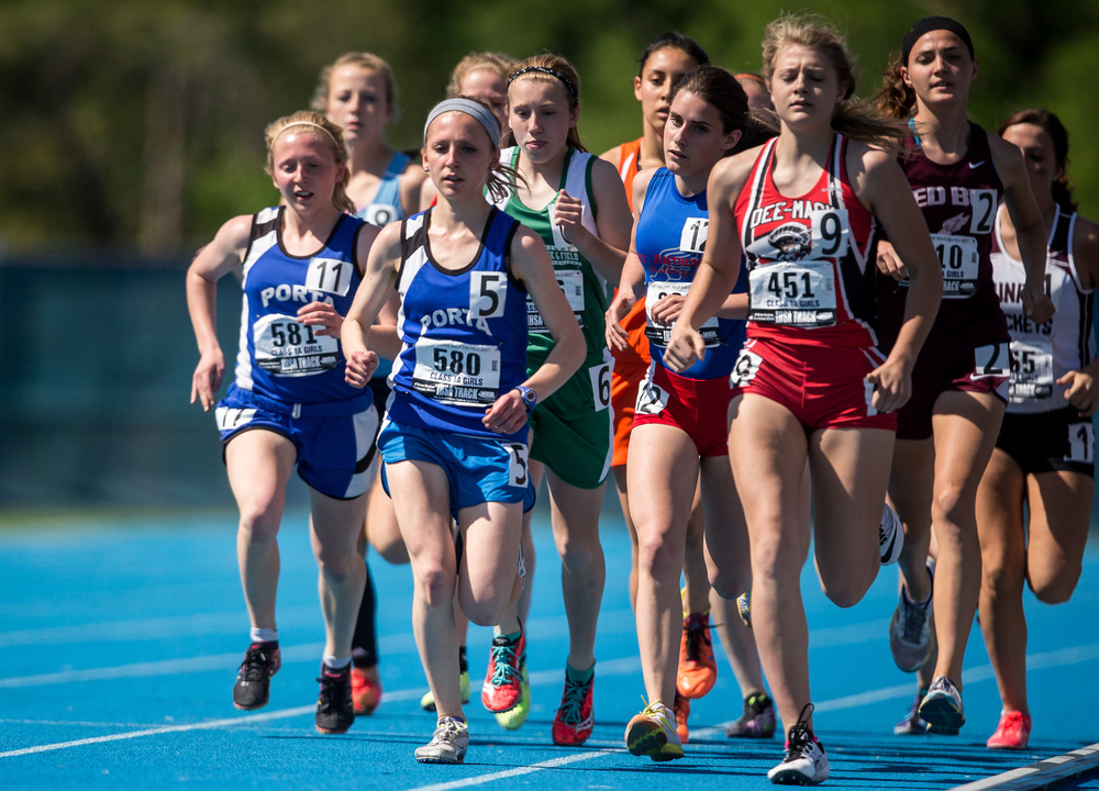 PORTA's Adrienne Brauer (580) and PORTA's Maria Brauer (581) at the front of the pack on the opening laps of the Class 1A 1600m Run during the IHSA Girls Track and Field State Finals at O'Brien Stadium, Saturday, May 23, 2015, in Charleston, Ill. Justin L. Fowler/The State Journal-Register