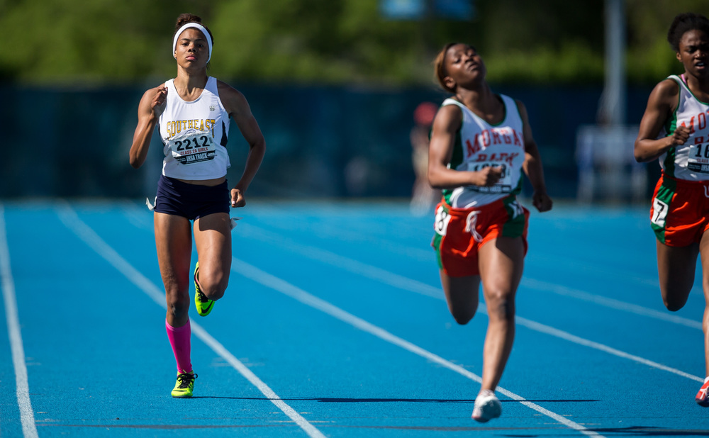 Southeast's Jamari Drake finished 8th in the Class 2A 200m Dash with a time of 25.76 during the IHSA Girls Track and Field State Finals at O'Brien Stadium, Saturday, May 23, 2015, in Charleston, Ill. Justin L. Fowler/The State Journal-Register
