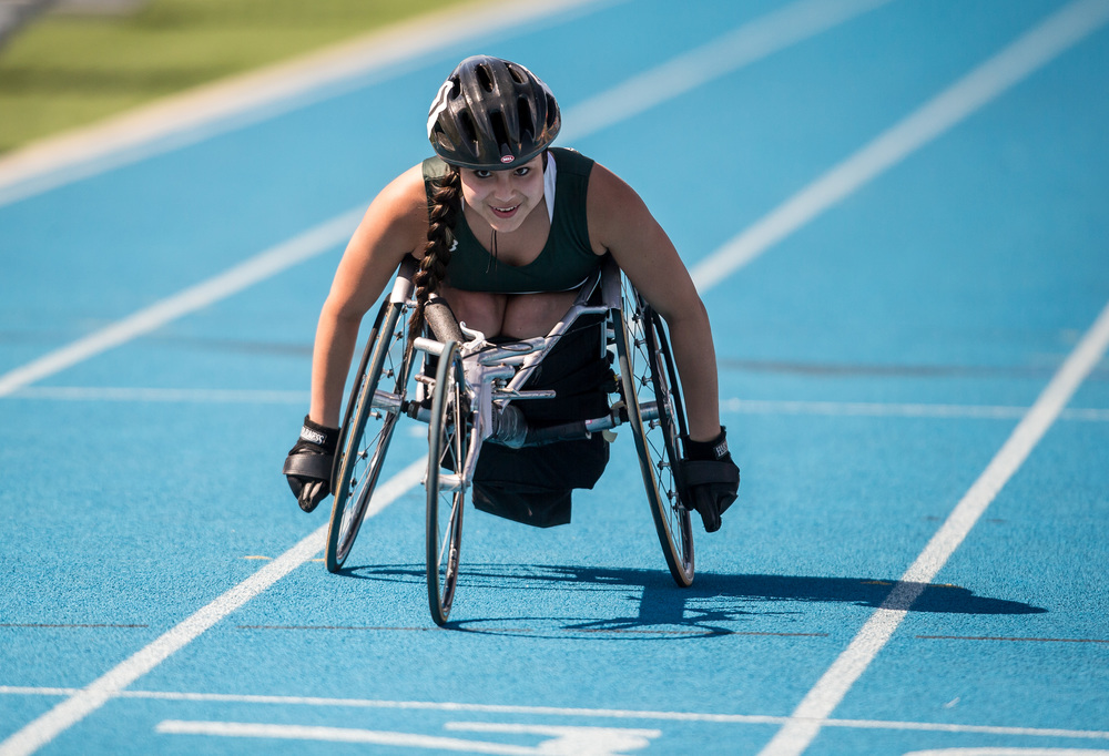 Glenbard West's Daniela Polencheck eyes the finish line to win the Wheelchair 200m Dash with a time of 46.88 during the IHSA Track and Field State Finals at O'Brien Stadium, Saturday, May 23, 2015, in Charleston, Ill. Justin L. Fowler/The State Journal-Register