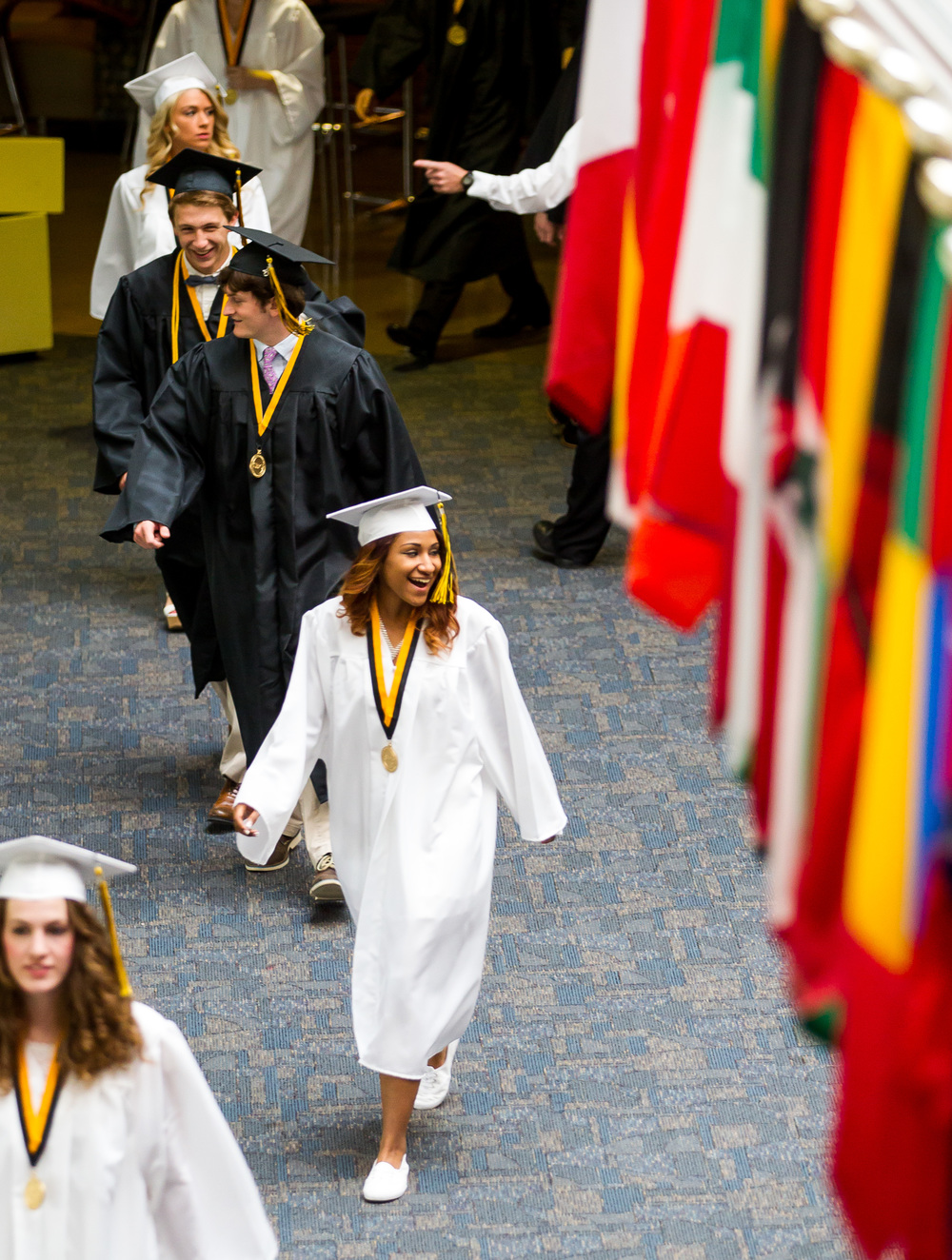 Sacred Heart-Griffin graduates make their way inside for the processional during the graduation ceremony for Sacred Heart-Griffin at Sangamon Auditorium , Sunday, May 24, 2015, in Springfield, Ill. Justin L. Fowler/The State Journal-Register