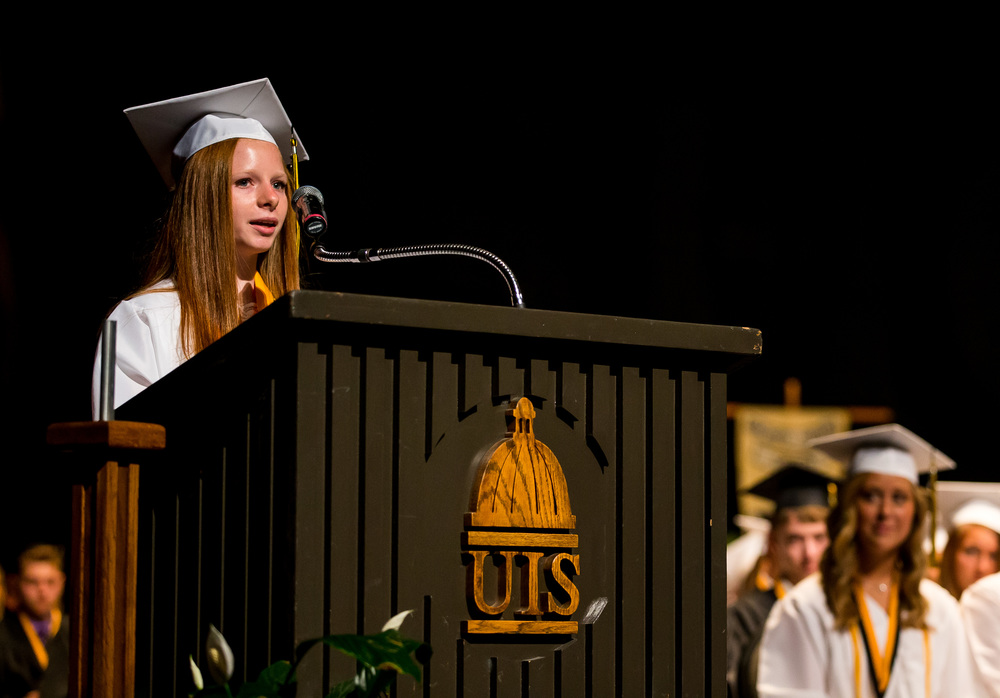 Sacred Heart-Griffin Salutatorian Bridget McClain gives her speech during the graduation ceremony for Sacred Heart-Griffin at Sangamon Auditorium , Sunday, May 24, 2015, in Springfield, Ill. Justin L. Fowler/The State Journal-Register
