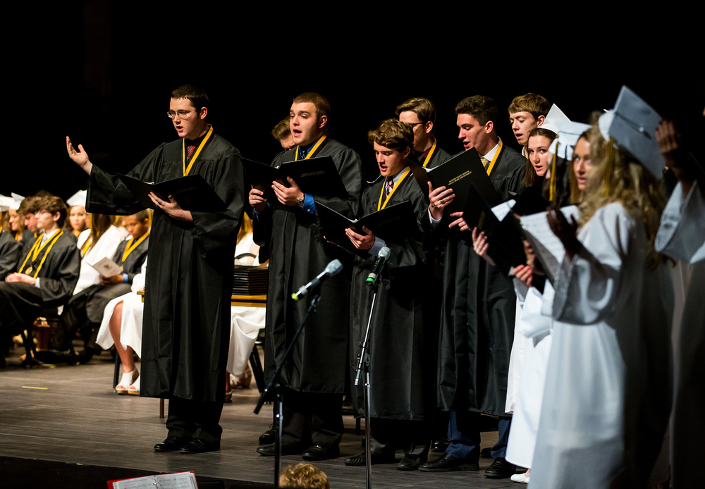 Graduating members of the Sacred Heart-Griffin Choir perform during Mass prior to the graduation ceremony for Sacred Heart-Griffin at Sangamon Auditorium , Sunday, May 24, 2015, in Springfield, Ill. Justin L. Fowler/The State Journal-Register