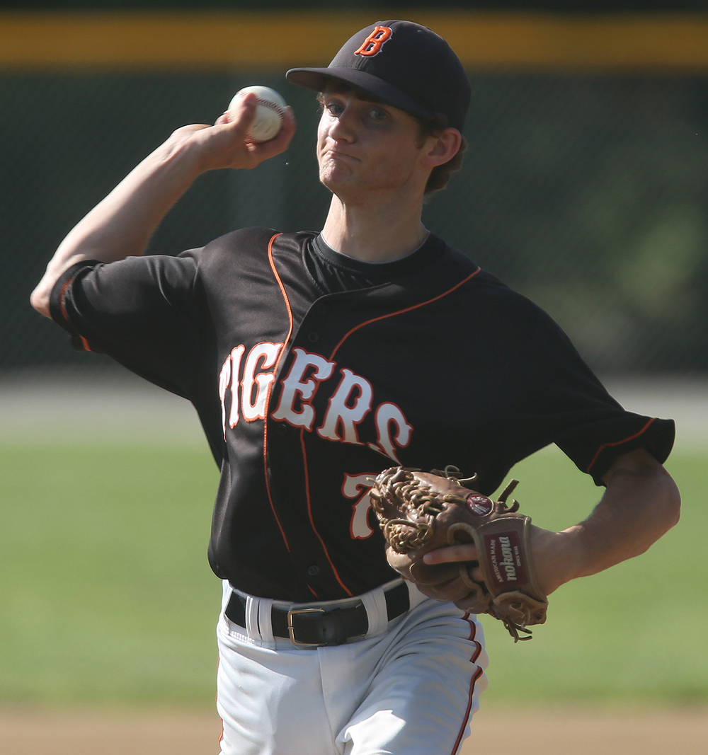 Tigers pitcher Rick Dour, who was Wednesday's losing pitcher, shows his form. Dour pitched for the duration of the game. David Spencer/The State Journal-Register