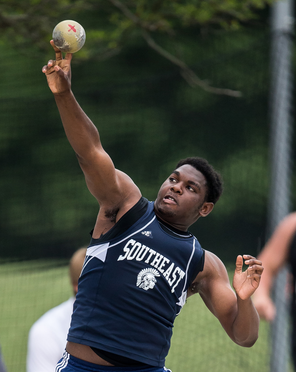 Springfield Southeast's Wlatee Weah competes in the Class 2A Shot Put during the IHSA Boys Track and Field State Finals at O'Brien Stadium, Saturday, May 30, 2015, in Charleston, Ill. Weah finished 7th with a best throw of 51-01.75. Justin L. Fowler/The State Journal-Register