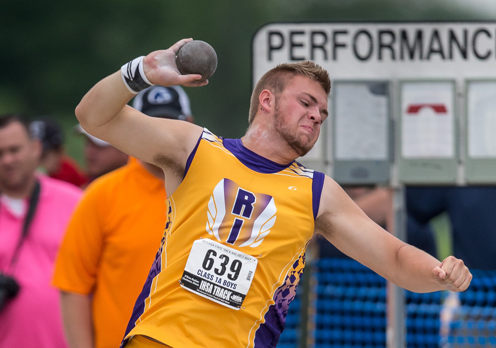 Rushville-Industry's Manning Plater competes in the Class 1A Shot Put during the IHSA Boys Track and Field State Finals at O'Brien Stadium, Saturday, May 30, 2015, in Charleston, Ill. Plater finished 4th with a throw of 52-04.00. Justin L. Fowler/The State Journal-Register