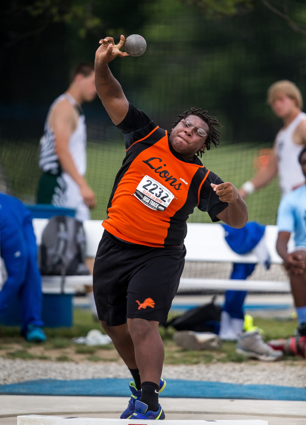 Lanphier's Montell Haynes competes in the Class 2A Shot Put during the IHSA Boys Track and Field State Finals at O'Brien Stadium, Saturday, May 30, 2015, in Charleston, Ill. Haynes finished 4th with a best throw of 52-07.00. Justin L. Fowler/The State Journal-Register