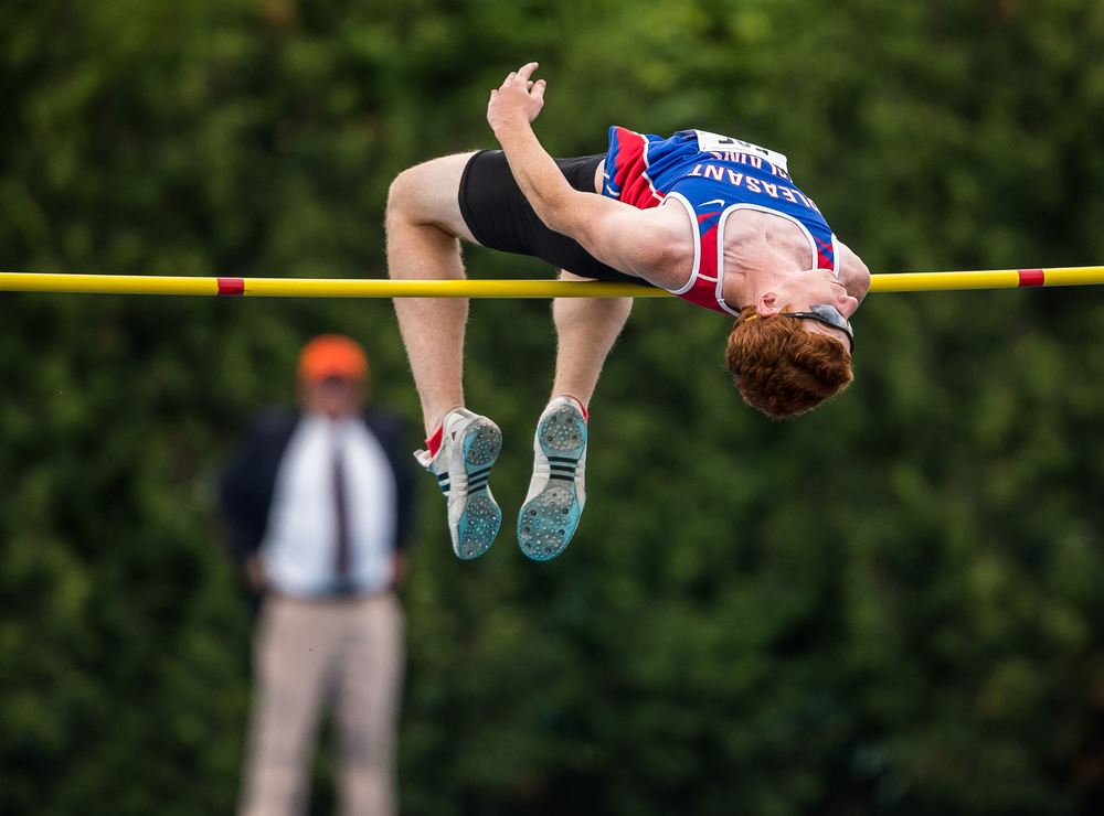 Pleasant Plains' Jake Wayda competes in the 1A High Jump during the IHSA Boys Track and Field State Finals at O'Brien Stadium, Saturday, May 30, 2015, in Charleston, Ill. Wayda finished 10th clearing 6-03.00. Justin L. Fowler/The State Journal-Register