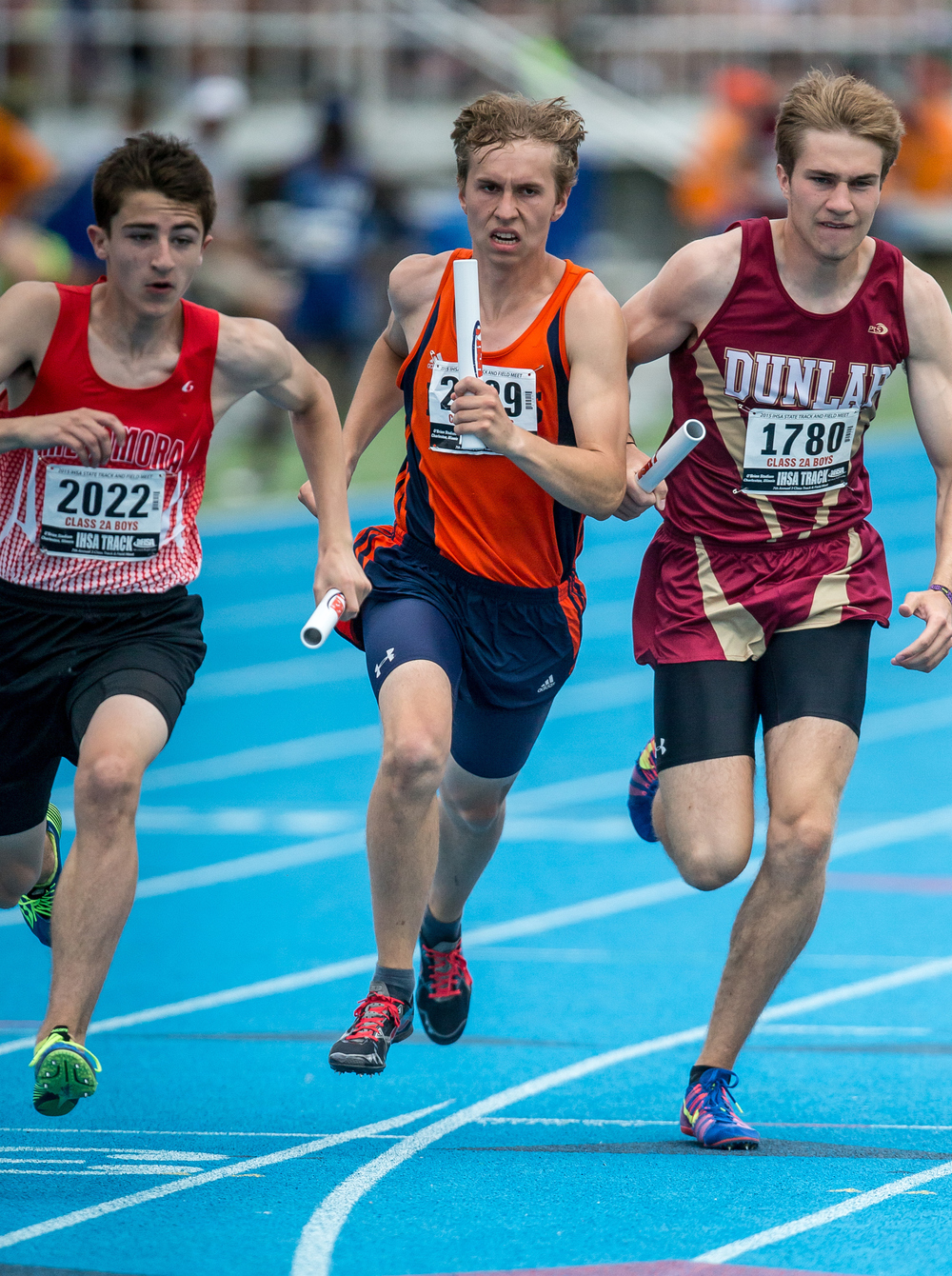 Rochester's Collin Biesiada runs the first leg of the Class 2A 4x800m Relay during the IHSA Boys Track and Field State Finals at O'Brien Stadium, Saturday, May 30, 2015, in Charleston, Ill. The Rockets finished 12th with a time of 8:21.16. Justin L. Fowler/The State Journal-Register