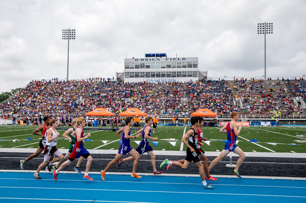 Pleasant Plains' Tyler Johnson maintains second place with the pack during the Class 1A 3200m Run during the IHSA Boys Track and Field State Finals at O'Brien Stadium, Saturday, May 30, 2015, in Charleston, Ill. Justin L. Fowler/The State Journal-Register