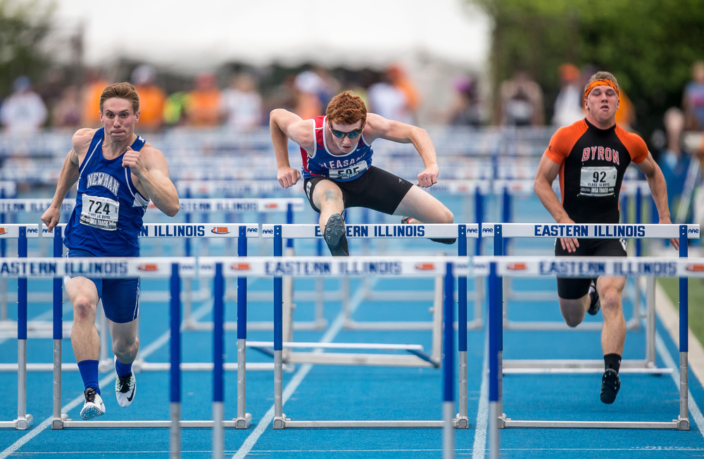 Pleasant Plains' Jake Wayda competes in the Class 1A 110m Hurdles during the IHSA Boys Track and Field State Finals at O'Brien Stadium, Saturday, May 30, 2015, in Charleston, Ill. Wayda finished 5th with a time of 15.27. Justin L. Fowler/The State Journal-Register