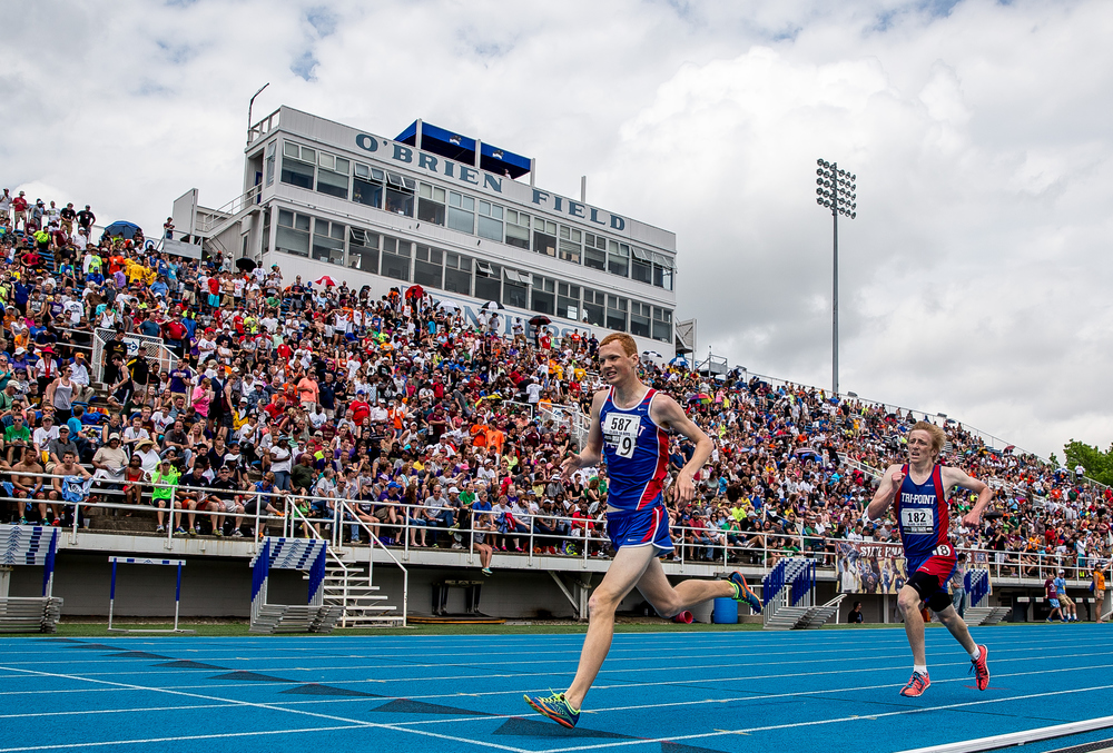 Pleasant Plains' Tyler Johnson out kicks Tri-Point's Brandon Wilkerson to finish 2nd in the Class 1A 3200m Run during the IHSA Boys Track and Field State Finals at O'Brien Stadium, Saturday, May 30, 2015, in Charleston, Ill. Justin L. Fowler/The State Journal-Register