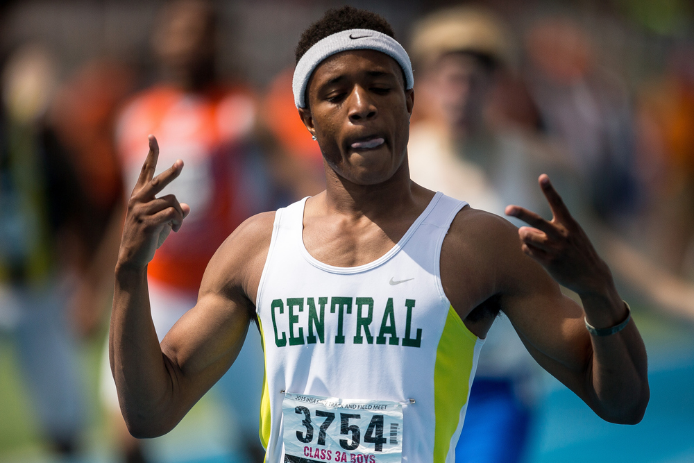 Plainfield Central's Kahmari Montgomery holds up a two after winning his second race of the day with a time of 46.24 in the Class 3A 400m Dash during the IHSA Boys Track and Field State Finals at O'Brien Stadium, Saturday, May 30, 2015, in Charleston, Ill. Justin L. Fowler/The State Journal-Register
