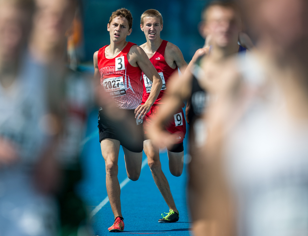 Glenwood's Landon Skelly finishes 10th with a time of 4:23.19 in the Class 2A 1600m Run during the IHSA Boys Track and Field State Finals at O'Brien Stadium, Saturday, May 30, 2015, in Charleston, Ill. Justin L. Fowler/The State Journal-Register