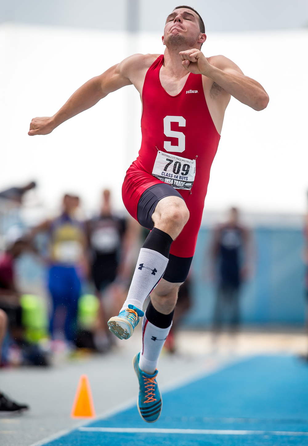 Staunton's Marcus Sitko launches in to the air on his way to jumping 46-02.25 to win the Class 1A Triple Jump during the IHSA Boys Track and Field State Finals at O'Brien Stadium, Saturday, May 30, 2015, in Charleston, Ill. Justin L. Fowler/The State Journal-Register