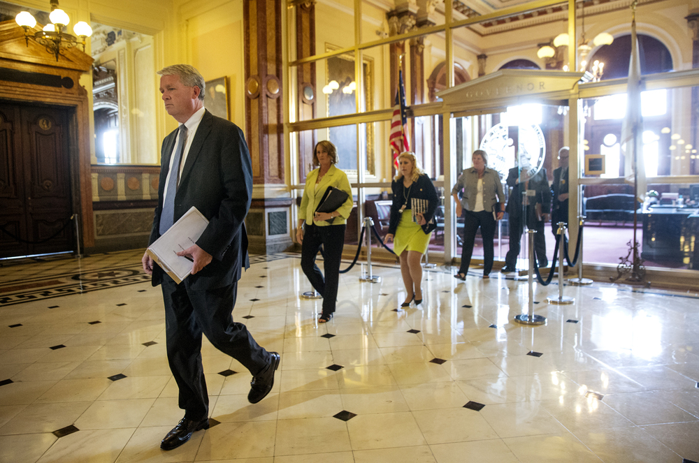 Illinois House Minority Leader Jim Durkin and Senate Minority Leader Christine Radogno exit Gov. Bruce Rauner's office at the Capitol after a meeting with the legislative leaders Friday, May 29, 2015. Ted Schurter/The State Journal-Register