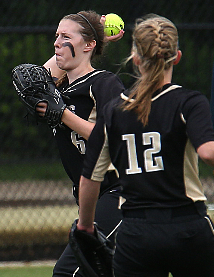 SHG shortstop Bree Derhake fields the ball in the seventh inning. David Spencer/The State Journal-Register