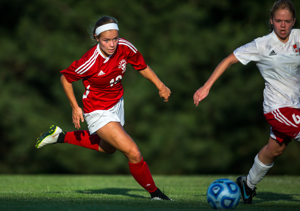 Glenwood's Kelly Graves (10) sights in on the ball against Metamora's Rebecca Wipfler (4) in the second half during the Class 2A Springfield Supersectional at Kiwanis Stadium, Tuesday, June 2, 2015, in Springfield, Ill. Justin L. Fowler/The State Journal-Register