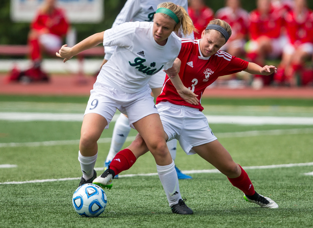 Glenwood's Katie Juhlin (3) tries to steal the ball away from Peoria Notre Dame's Kristen Slomba (9) in the first half during the IHSA Class 2A Girls State Soccer Semifinals at North Central College, Friday, June 5, 2015, in Naperville, Ill. Justin L. Fowler/The State Journal-Register