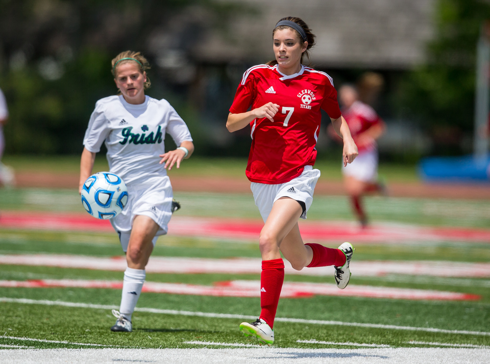 Glenwood's Maddie Klintworth (7) tries to chase down a ball in front of Peoria Notre Dame's Kenna Carew (17) in the second half during the IHSA Class 2A Girls State Soccer Semifinals at North Central College, Friday, June 5, 2015, in Naperville, Ill. Justin L. Fowler/The State Journal-Register