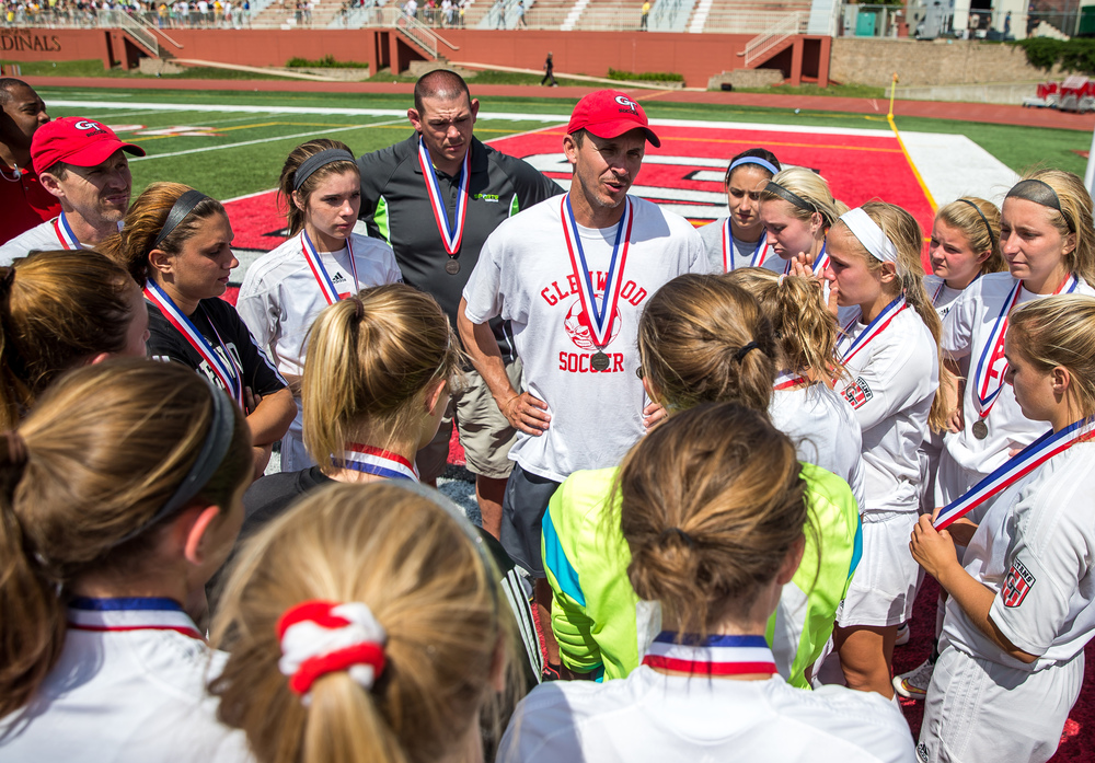Glenwood head coach Jay Lipe talks to his team after the Titans lost to Mundelein Carmel 1-0 in the IHSA Class 2A Girls State Soccer Championship at North Central College, Saturday, June 6, 2015, in Naperville, Ill. Justin L. Fowler/The State Journal-Register
