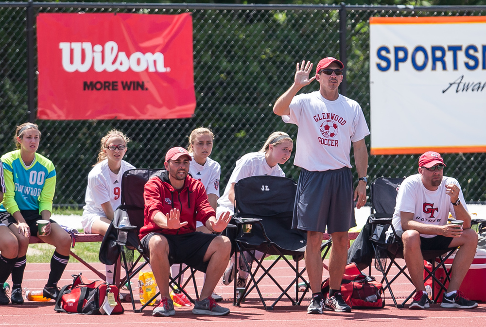 Glenwood head coach Jay Lipe calls out instructions to his team as they take on Mundelein Carmel in the second half during the IHSA Class 2A Girls State Soccer Championship at North Central College, Saturday, June 6, 2015, in Naperville, Ill. Justin L. Fowler/The State Journal-Register