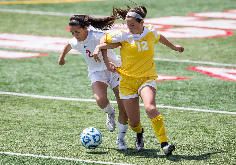 Glenwood's Taylor Parriott (2) wins a ball away from Mundelein Carmel's Kayla Handel (12) in the second half during the IHSA Class 2A Girls State Soccer Championship at North Central College, Saturday, June 6, 2015, in Naperville, Ill. Justin L. Fowler/The State Journal-Register