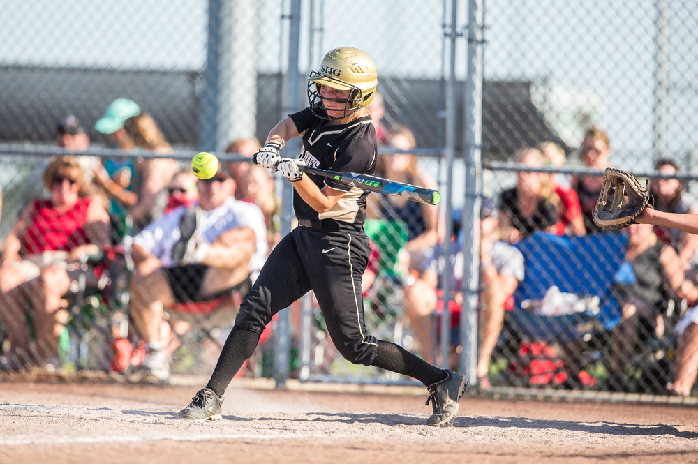 Sacred Heart-Griffin's Katie McLean hits a triple against Highland in the 7th inning during the Class 3A Supersectional at the Land of Lincoln Junior Olympic Softball Complex at UIS, Tuesday, June 9, 2015, in Springfield, Ill. Justin L. Fowler/The State Journal-Register