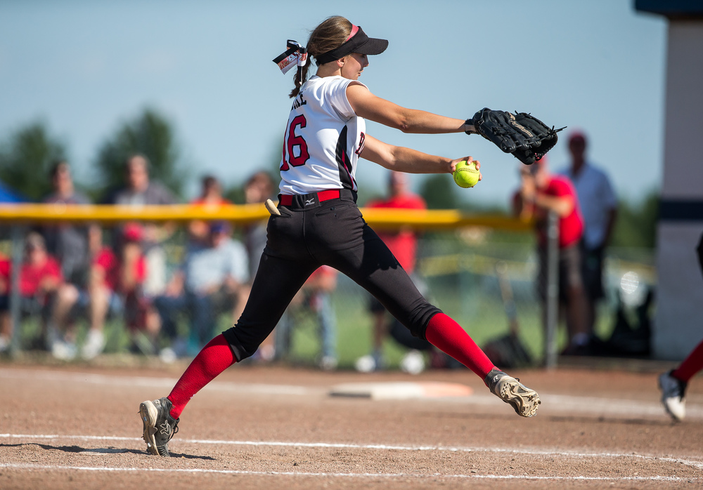Highland pitcher Aubrey Hacke (16) delivers to the plate against Sacred Heart-Griffin during the Class 3A Springfield Supersectional at the Land of Lincoln Junior Olympic Softball Complex at UIS, Tuesday, June 9, 2015, in Springfield, Ill. Justin L. Fowler/The State Journal-Register