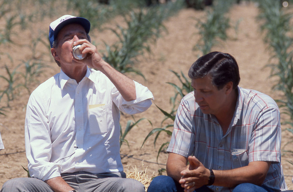 Vice President George H. W. Bush drinks a cold soft drink during a press conference with Raymond Poe and others June 18, 1988 in a corn field near Sherman. Bush was touring Poe's drought stricken corn field during a campaign stop in the area. File/The State Journal-Register