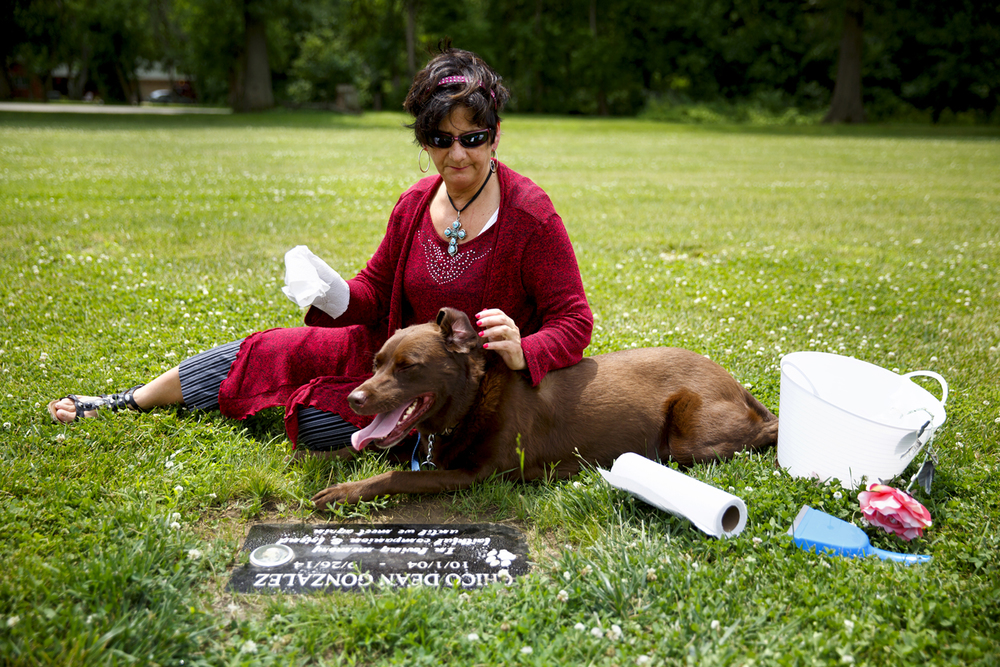 Teresita Gonzalez tends to the grave marker for her dog, Chico, in the pet cemetery at Roselawn Memorial Park on Camp Butler Road Friday, June 12, 2015 in Riverton, Ill. She and her Chocolate Lab, Buddy, visit at least twice a month. Rich Saal/The State Journal-Register