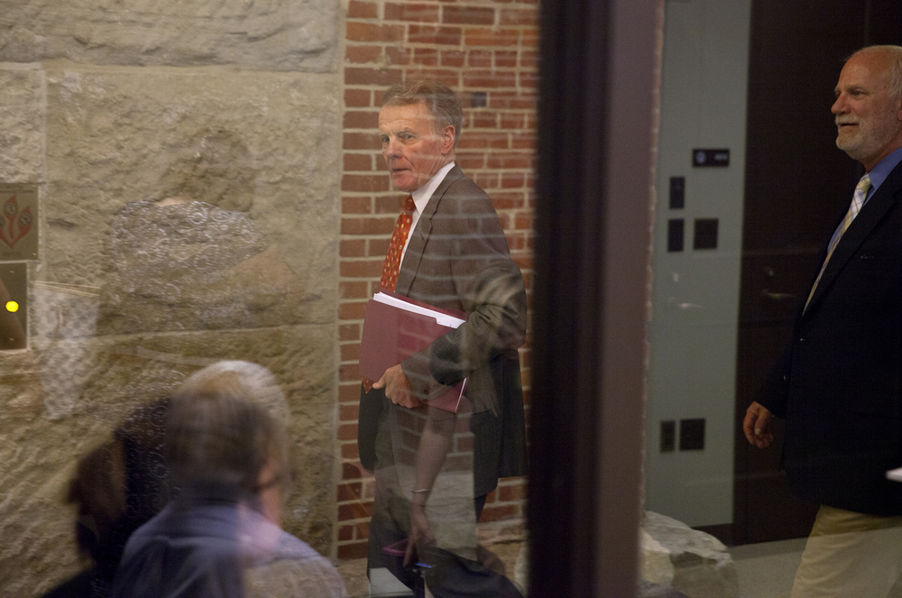Illinois House Speaker Michael Madigan leaves a press conference in the Capitol Tuesday, June 9, 2015. At right is Madigan's spokesman, Steve Brown. Rich Saal/The State Journal-Register