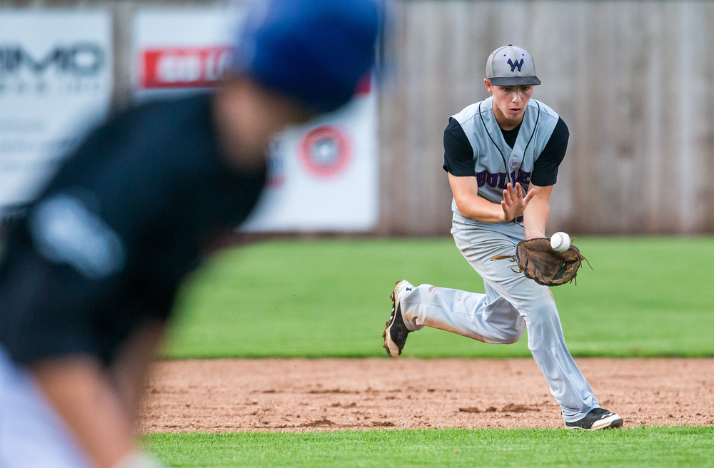 Williamsville's Talon File fields a ground ball for an out at first against the CS8 team in the 3rd inning during The Baseball Classic all-star game at Lincoln Land Community College's Claude Kracik Field, Tuesday, June 16, 2015, in Springfield, Ill. Justin L. Fowler/The State Journal-Register