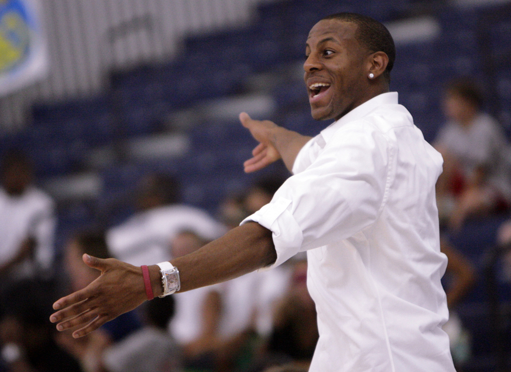 Andre Iguodala laughs at the antics on the court during his Celebrity Basketball Game Saturday, July 26, 2008 at the University of Illinois Springfield. Ted Schurter/The State Journal-Register