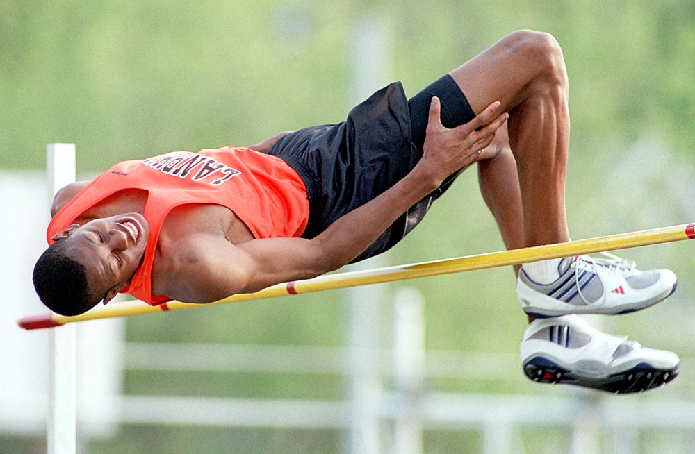 Andre Iguodala didn't clear this bar, but he did take first with a leap of 6 feet ten inches in the high jump Wednesday, May 1, 2001 at the Boys City Track and Field meet. Ted Schurter/The State Journal-Register