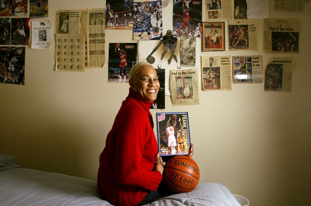 Linda Shanklin's two sons, Frank and Andre Iguodala, both played in the 2004 NCAA basketball tournament, but on different teams. Frank played for the University Dayton while Andre played for Arizona. Shanklin was photographed in her Springfield home March 15, 2004. Ted Schurter/The State Journal-Register