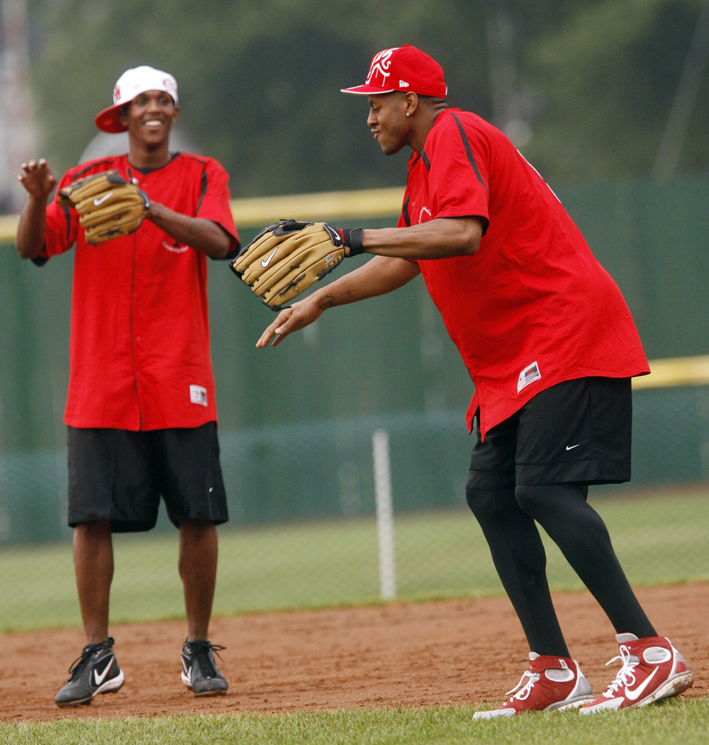 Andre Iguodala dances in the infield with Philadelphia 76ers teammate Louis Williams Sat. August 4, 2007 during the Andre Iguodla Celebrity All-Star Softball Game at Lanphier Park. Ted Schurter/The State Journal-Register