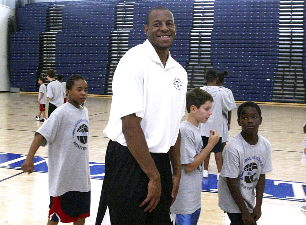 Andre Iguodala meets kids attending his basketball camp at the University of Illinois Springfield's TRAC, July 26, 2008. File/The State Journal-Register