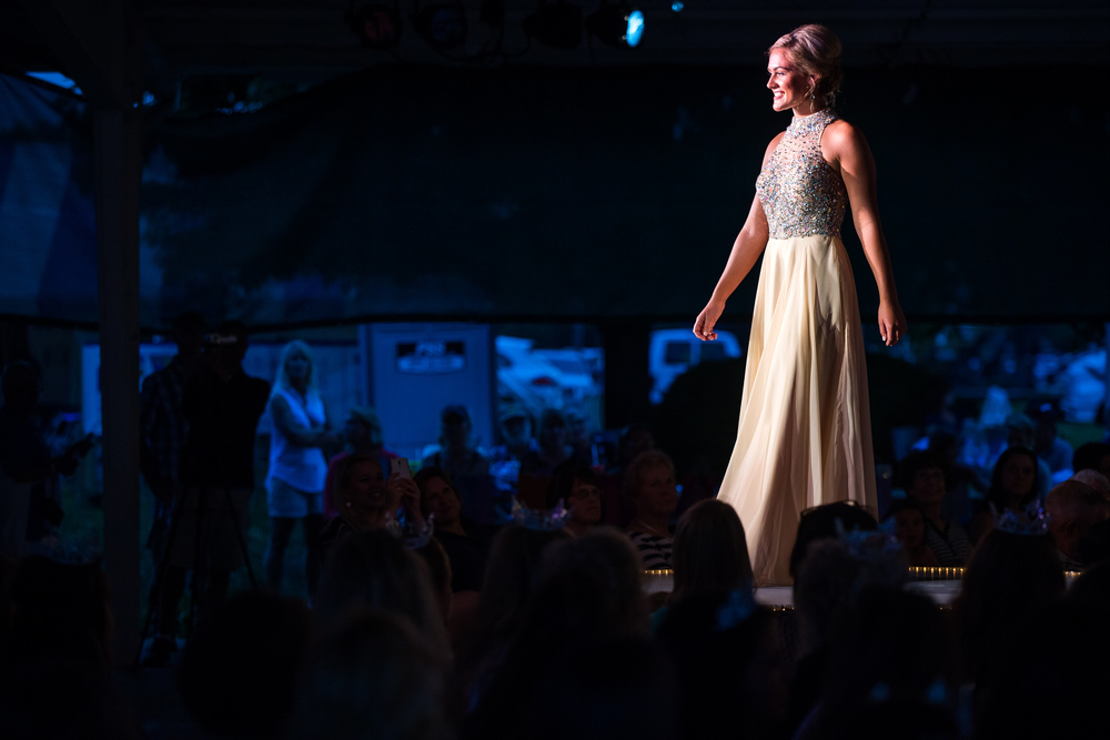 Megan Urbas competes in the evening gown competition during the 57th Annual Sangamon County Fair Queen Pageant at the Sangamon County Fairgrounds, Wednesday, June 17, 2015, in New Berlin, Ill. Justin L. Fowler/The State Journal-Register