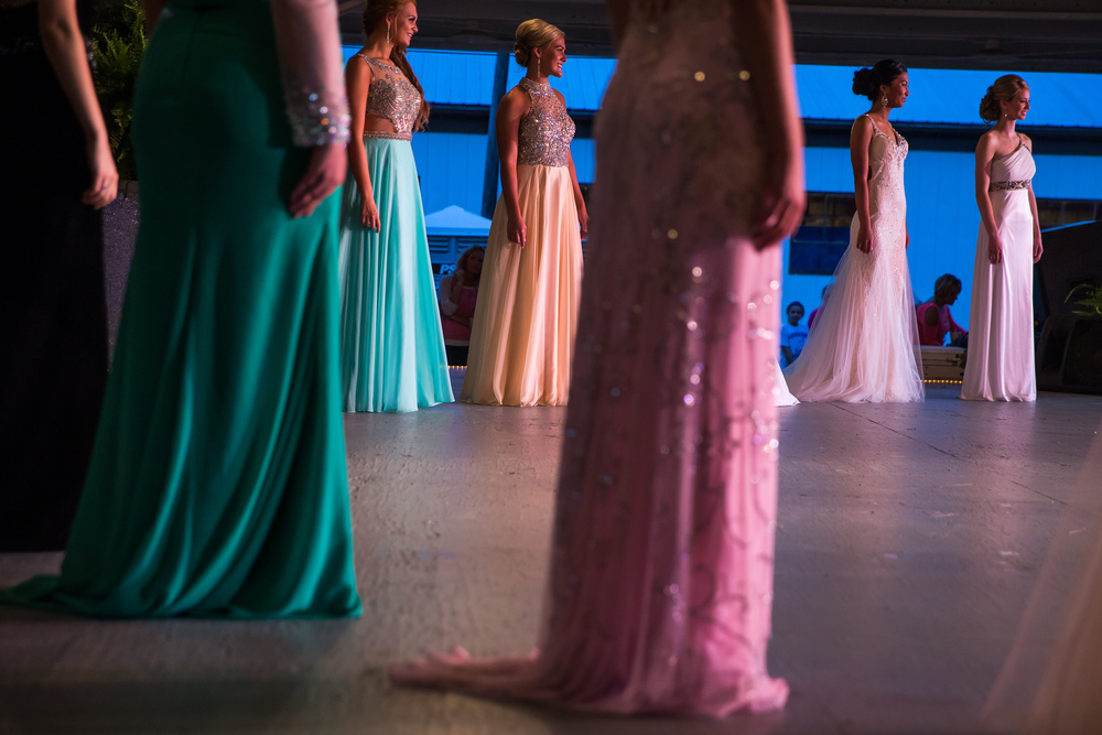 Contestants line up one last time during the evening gown competition during the 57th Annual Sangamon County Fair Queen Pageant at the Sangamon County Fairgrounds, Wednesday, June 17, 2015, in New Berlin, Ill. Justin L. Fowler/The State Journal-Register