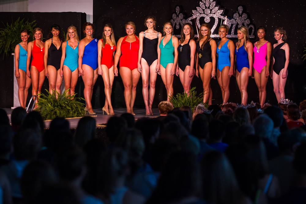Contestants compete in the swimsuit competition during the 57th Annual Sangamon County Fair Queen Pageant at the Sangamon County Fairgrounds, Wednesday, June 17, 2015, in New Berlin, Ill. Justin L. Fowler/The State Journal-Register