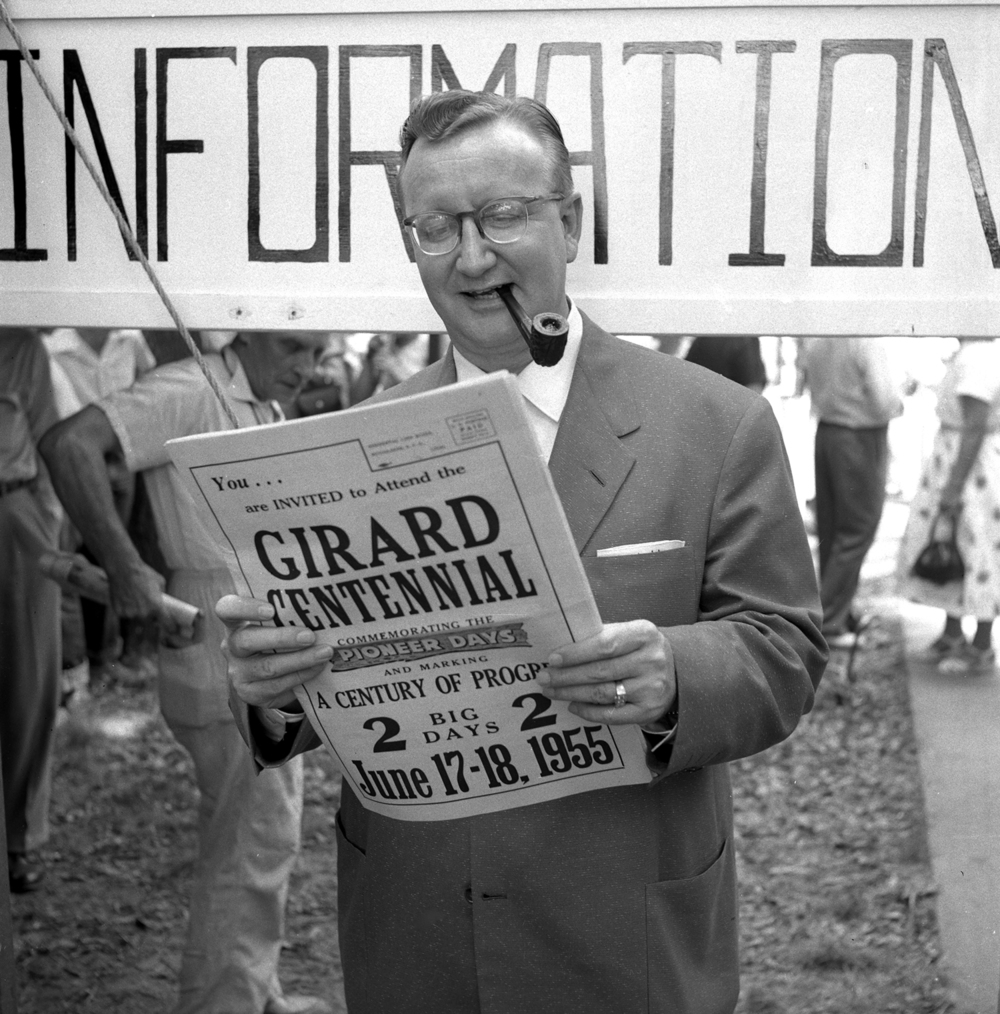 Sam Molen served as Master of Ceremonies for the Girard Centennial Pioneer Days celebration and parade June 17, 1955 in Girard, Ill. Molen had lived in Nilwood and Girard and was a sports announcer for radio station KMBC in Kansas City. He had also worked for WTAX in Springfield. File/TheState Journal-Register
