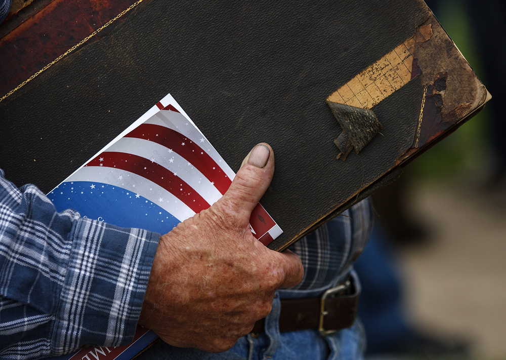 James Finnegan of Staunton brought his grandfather William John Finnegan's diary that recounts the burial of Mother Jones to the rededication ceremony for the Mother Jones Monument at Union Miners' Cemetery in Mt. Olive Saturday, June 20, 2015. Ted Schurter/The State Journal-Register
