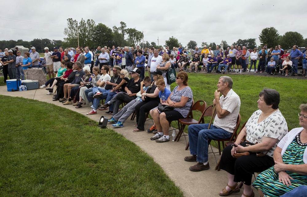 A crowd listens as a speaker recalls the legacy of Mother Jones during a rededication ceremony for the Mother Jones Monument at Union Miners' Cemetery in Mt. Olive Saturday, June 20, 2015.  Ted Schurter/The State Journal-Register