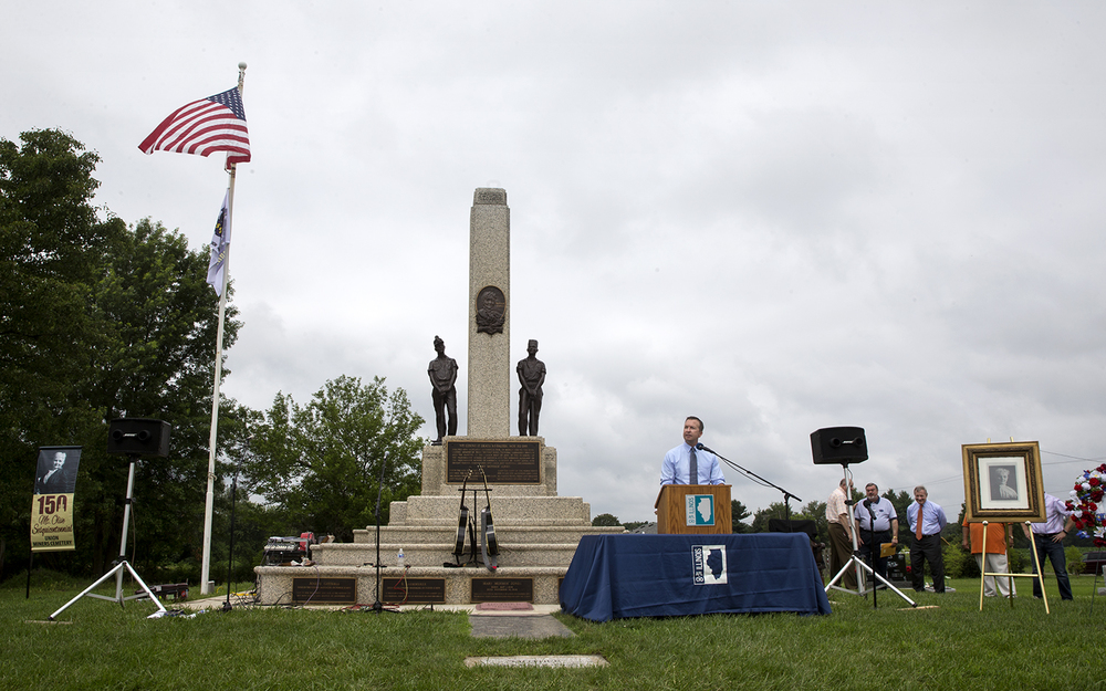 State Sen. Andy Manar, D-Bunker Hill, recalls the legacy of Mother Jones during a rededication ceremony for the Mother Jones Monument at Union Miners' Cemetery in Mt. Olive Saturday, June 20, 2015. The monument recently underwent a restoration project. Ted Schurter/The State Journal-Register