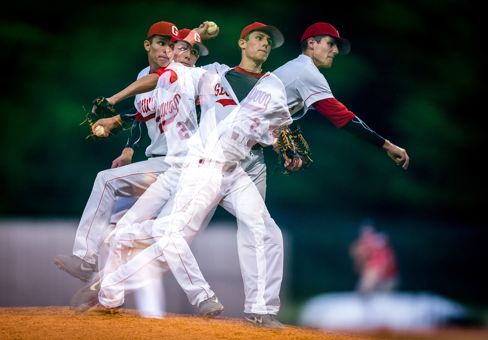 Glenwood's Nick Maton's delivery is caught in a multiple exposure photo while pitching against the All Area team during The Baseball Classic all-star game at Lincoln Land Community College's Claude Kracik Field, Tuesday, June 16, 2015, in Springfield, Ill. Justin L. Fowler/The State Journal-Register