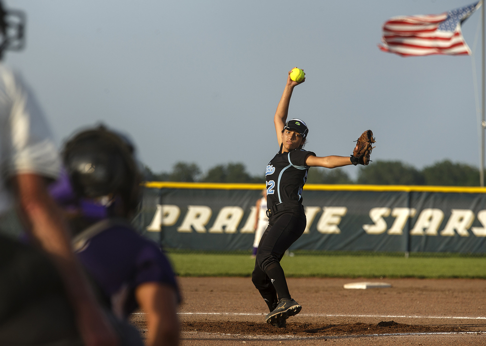 North Mac's Hannah Tomasko winds up during the 2015 Land of Lincoln Softball Classic Monday, June 22, 2015. Ted Schurter/The State Journal-Register