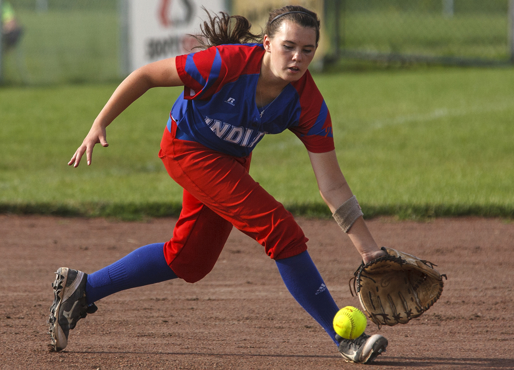 Pawnee's Kelsie Allen fields a grounder during the 2015 Land of Lincoln Softball Classic Monday, June 22, 2015. Ted Schurter/The State Journal-Register